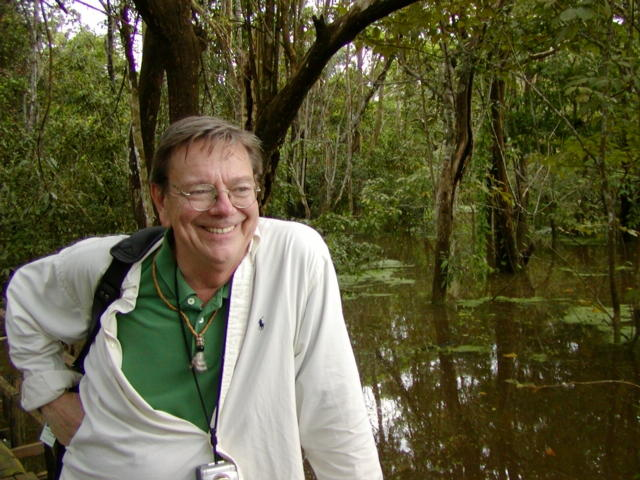 Jim Hartz in the Amazonian rainforest, 2002
